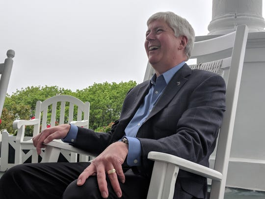 Michigan Gov. Rick Snyder at the Grand Hotel on Thursday, May 31, 2018, during the annual Mackinac Policy Conference.