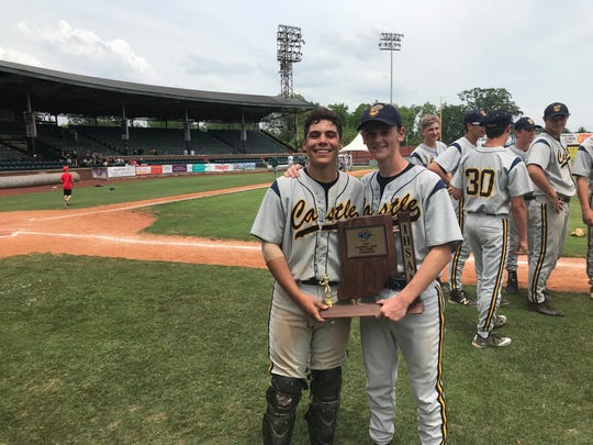 Castle catcher Noah Gilbert (left) and pitcher Blake