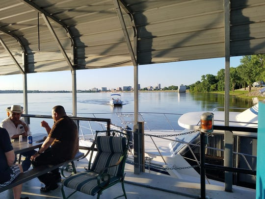 Boaters can dock right beside Tiki Time and come aboard
