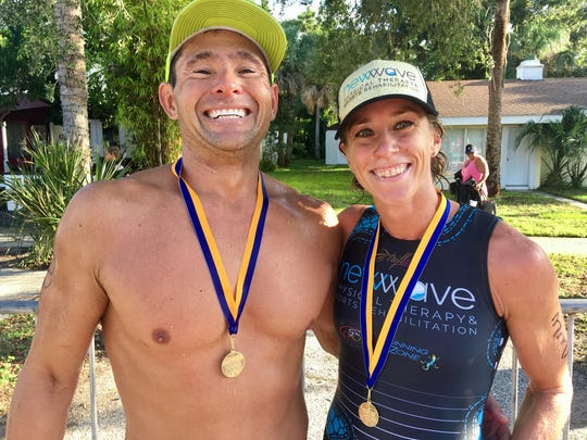 Ed and Kaitlin Donner at the Rotary Pineapple Man Triathlon