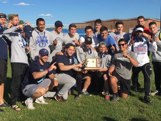 Mater Dei Prep's boys track team poses with the NJSIAA