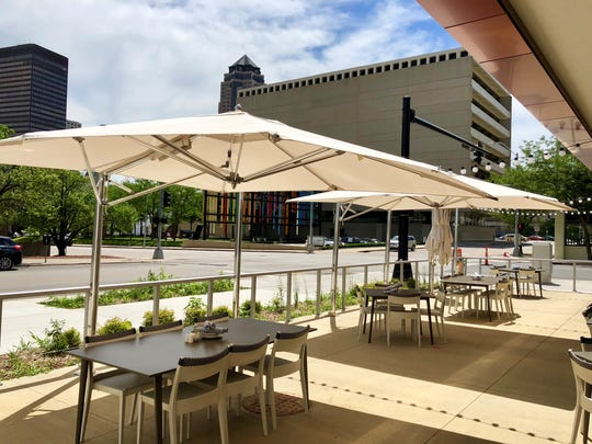 Park Street Kitchen's new patio looks out at the Des Moines skyline.