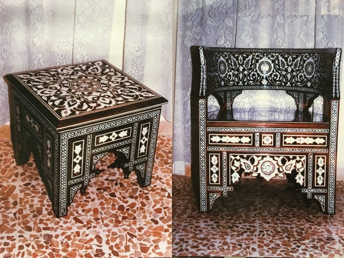 Islamic art patterns and mother of pearl adorn an accent