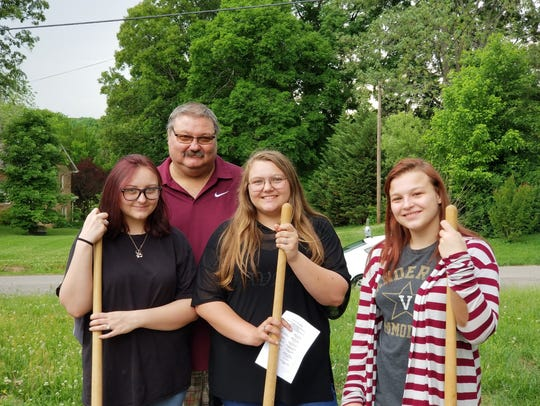 Jack Jackson and his daughters celebrated at the groundbreaking
