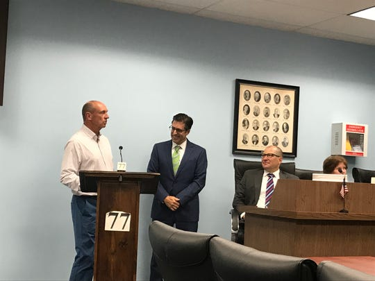 Cedar Grove Judge Robert A. Scanlon's son Bill, left, thanks Cedar Grove officials, including Mayor Peter Tanella, for honoring his late father on June 4, 2018.