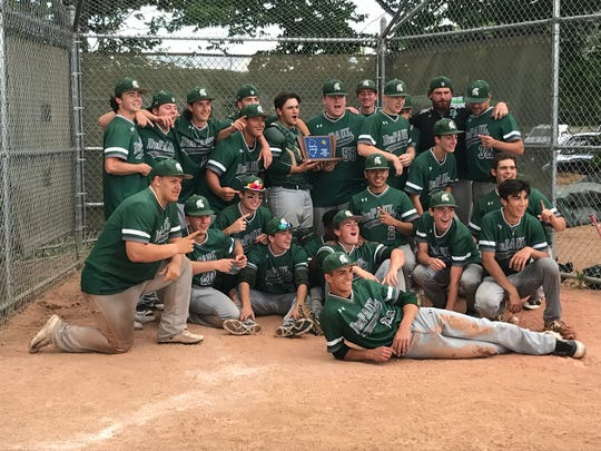 The DePaul baseball team celebrates its first state sectional championship after defeating Gill St. Bernard's, 8-4, in the North Non-Public B final on Tuesday, June 5, 2018.