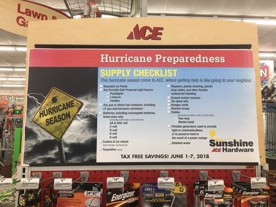 A disaster preparedness display for the 2018 tax-free holiday at Sunshine Ace Hardware 18911 S Tamiami Trl, Fort Myers.