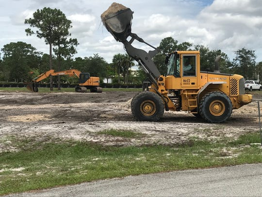 Earth moving equipment works on a new Port St. Lucie park -- unofficially Westmoreland Park -- and entrance to the Port St. Lucie Botanical Gardens.