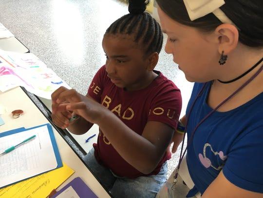 Ava Curlott and Daniyah Reed, fourth-graders in Erin
