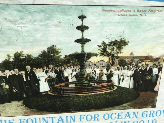 Scene from the Fountain of Hope's 1907 dedication, as depicted on the Historical Society of Ocean Grove's promotional material.
