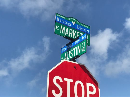 Rockport Cultural Arts District signs on S Austin and Market Streets in downtown Rockport were unveiled Friday, June 8, 2018.