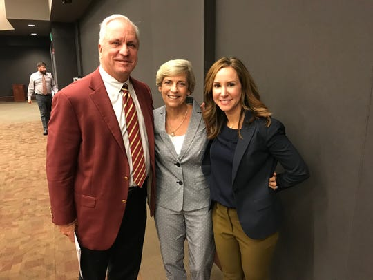 Mary Coburn, center, poses with FSU board of trustees chairman Ed Burr, left, and Amy Hecht, vice president for student affairs Friday. Trustees voted to name FSU's Health & Wellness Center the Mary B. Coburn Health & Wellness Center. (June 8, 2018).