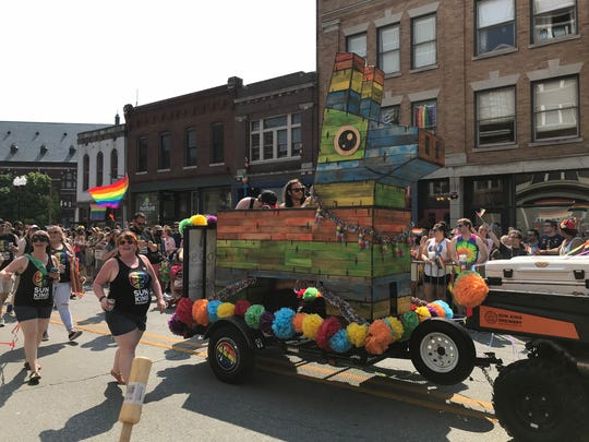 Sun King Brewery built a pinata on this float for the Cadillac Barbie Pride Parade at Indy Pride Fest on June 9, 2018.