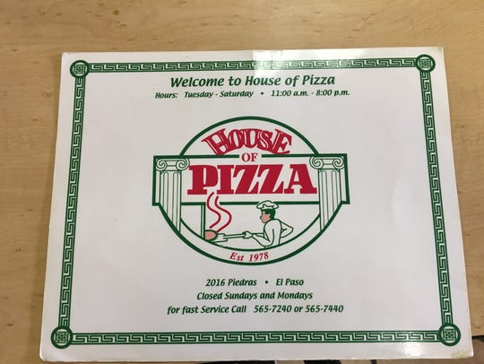 House of Pizza menu.