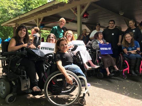 Cynthia Nixon joined disability rights groups in Rochester on Sunday afternoon.
