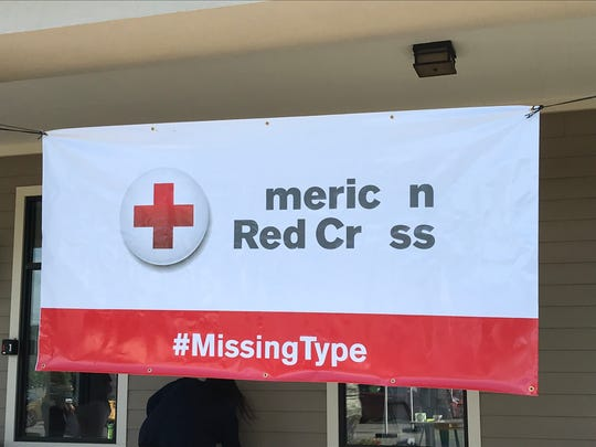 The American Red Cross Missing Types sign removes the letters A, B and O to raise awareness of the need for blood donors
