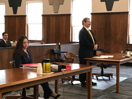 Appellant attorney Russ Leffler, right, addresses court
