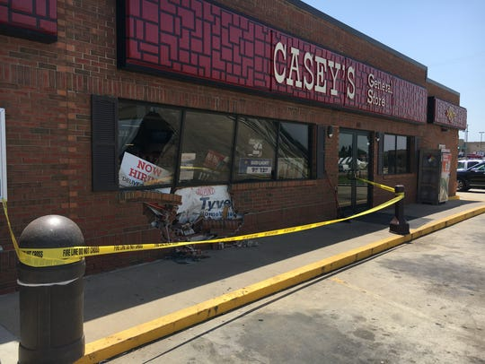 Police say a vehicle crashed into the front of the