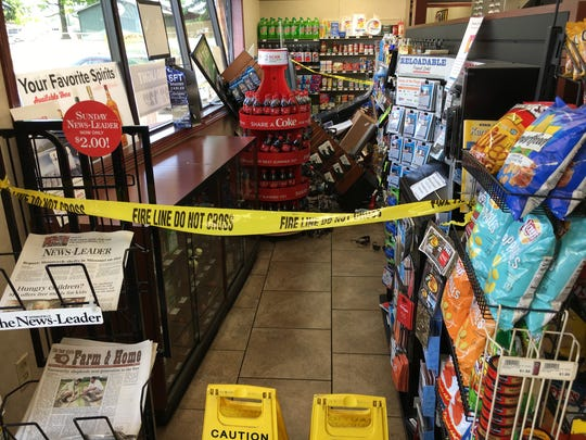 Police say a vehicle crashed into the front of the Casey's General Store on Miller Road in Willard on Monday morning, June 12, 2018.