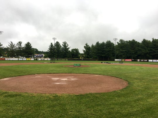 A rain-soaked Kate Collins Field Monday afternoon. So far this month, the Waynesboro Generals, who play home games at Kate Collins, have been rained out seven times, including four at home.