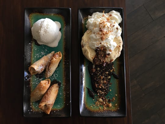 Dessert options at Ojai Bowls include banana spring rolls with vegan coconut ice cream, left, and Kona pie featuring a chocolate cookie crust, vanilla ice cream scattered with toasted macadamia nuts and hot chocolate fudge.