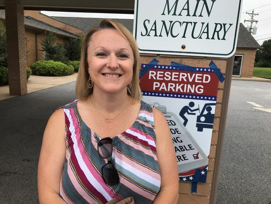 Gail Kirby voted at Devenger Road Presbyterian Church