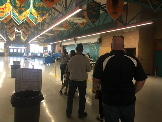About 10 people were in line to vote in the Nevada primary at 8:15 a.m. Tuesday, June 12, 2018 at Billinghurst Middle School in Reno.