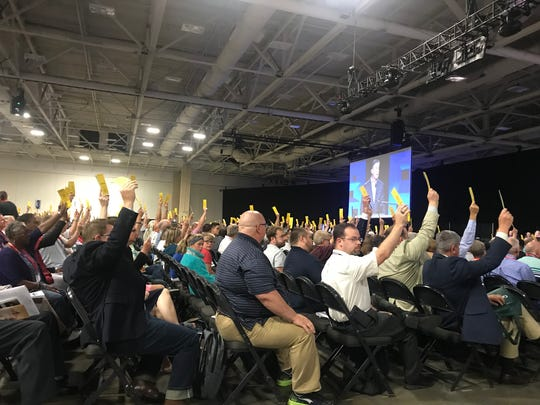 Southern Baptists in Dallas attending the annual meeting of the Southern Baptist Convention vote on Tuesday to keep Vice President Mike Pence as a speaker. Pence is set to speak Wednesday.