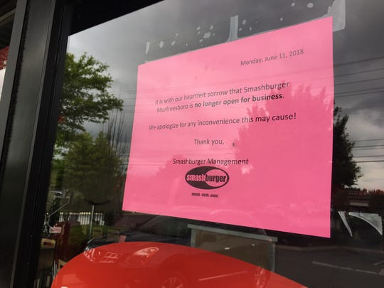 Murfreesboro's Smashburger closed permanently with little warning Monday, according to a sign posted in the storefront's windows.