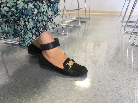 Erika Fierro, who faces deportation by June 27, wears an ankle monitor so U.S. authorities can track her whereabouts.