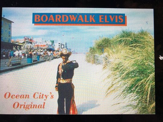Boardwalk Elvis appears in this Ocean City postcard.