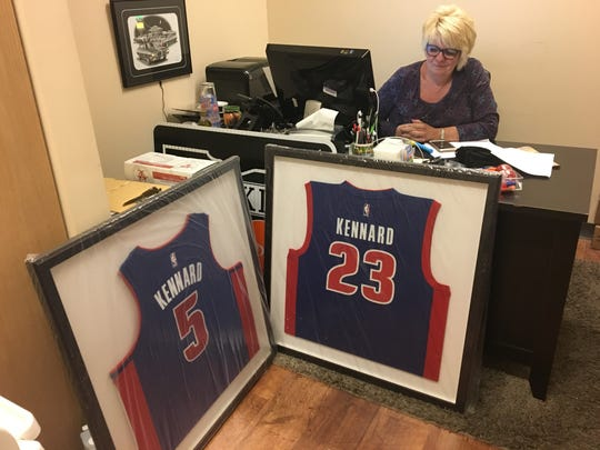 Pizza House owner Debbie Fouts proudly displays the Luke Kennard's two Detroit Pistons jerseys. Wait, he was a rookie last season. How did he have two numbers. Fouts was able to snag the No. 23 shortly after Kennard was drafted 12th by Pistons at the June 2017 NBA Draft. The No. 5 became available when the Pistons relinquished the rights to Kentavious Caldwell-Pope a couple weeks later. Good thing since the Pistons later traded for Blake Griffin, who wears No. 23 currently. Oh, the pizza is amazing.