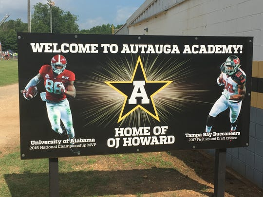 A new sign outside Generals Field was unveiled in honor of former Autauga Academy star O.J. Howard in anticipation of his football camp on Saturday.