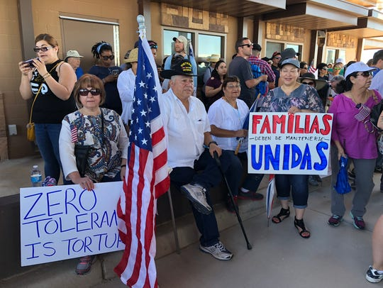 Protesters on Sunday call for an end to the separation