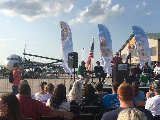 "Barry Williams, the ""Brady Bunch"" actor and Branson entertainer, was on stage with Branson dignitaries including Mayor Karen Best and chamber of commerce leader Jeff Seifried, during a welcome party at Branson Airport for Frontier Airlines held June 13, 2018."