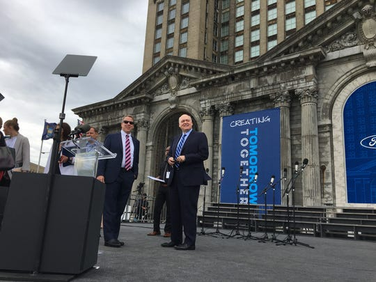 Bill Ford, company chairman, and CEO Jim Hackett prepare for Tuesday's celebration of Ford Motor Co.'s purchase of Michigan Central Station in Detroit's Corktown neighborhood.