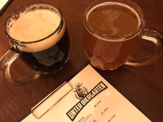 Unter Biergarten serves two sizes of draft beers.