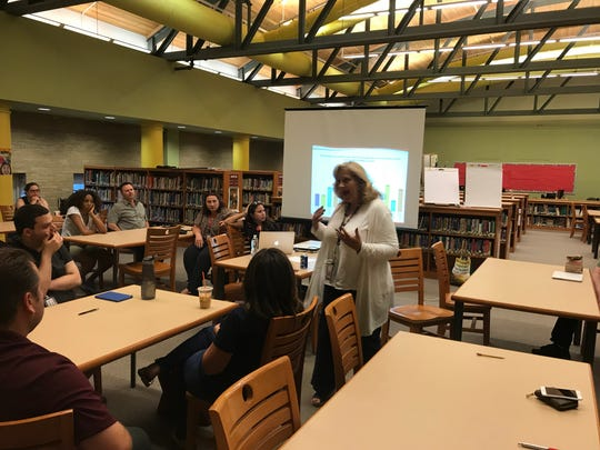 Nutley Superintendent Julie Glazer addresses a focus group session about school security on June 19, 2018.