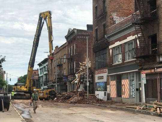 Demolition continues on Wednesday, June 20 to secure