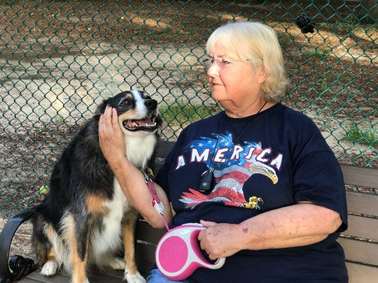 Leslie Cook and her dog Dolly at Roger Scott Dog Park