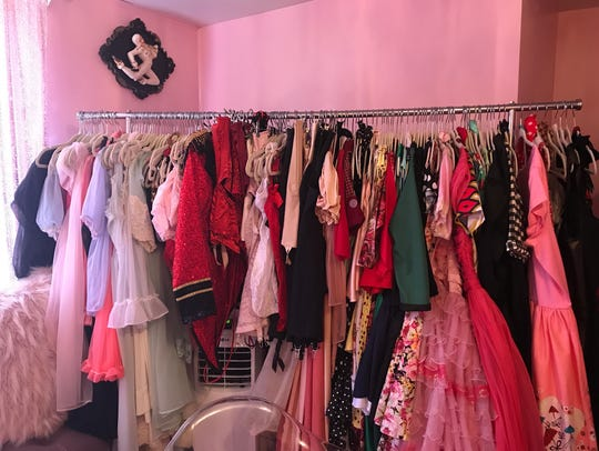 A rack of the many outfits in the pin-up room at Autumn