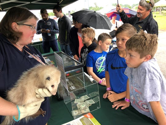 Stephanie Bussema, a Howell Nature Center wildlife educator, talks to Carter Sutton, 11 (near right) and Ryan Danielson, 11, about Snowflake, a rescued opossum. The Howell Nature Center will have a booth all weekend at Balloonfest, with different rescued animals each day.