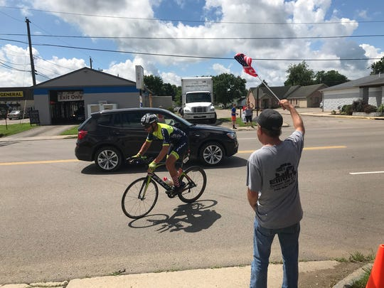Joe Lawhorn pulls into the East Main Street timing station Friday afternoon for a brief stop on his Race Across America journey.