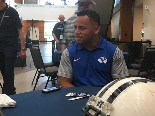 BYU linebacker Butch Pau'u at BYU's media day in June.