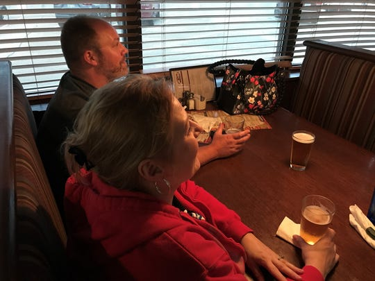 Sean Nelson and Colleen Szczepanik, of Garden City, react to the Detroit Red Wings picking Filip Zadina sixth overall in the 2018 NHL Entry Draft.