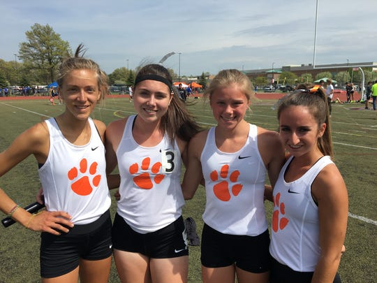 Brighton's 3,200 relay team consisted of (from left) Erika Mohr, Maddie Brown, Lindsey Witte and Lauren Parrell.