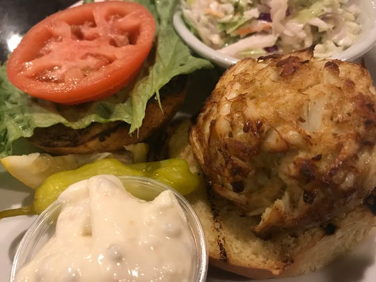 The crab cake sandwich ($21) at Racing Legends restaurant