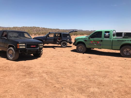 Off-road vehicles line an area near Lake Pleasant Wednesday