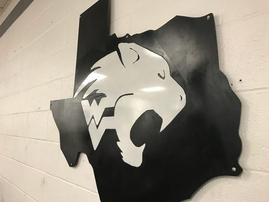 Water Valley's logo inside the high school's weight room.