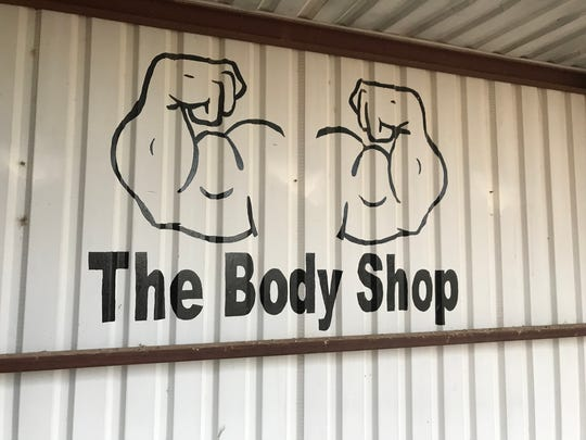 A sign near the Water Valley weight room